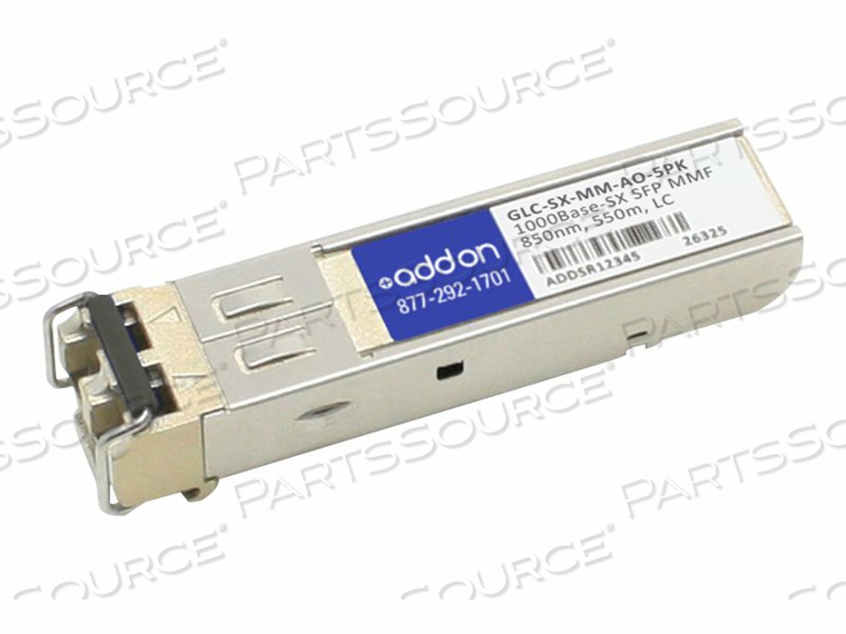 ADDON - SFP (MINI-GBIC) TRANSCEIVER MODULE (EQUIVALENT TO: CISCO GLC-SX-MM) - GIGE - 1000BASE-SX - LC MULTI-MODE - UP TO 1800 FT - 850 NM (PACK OF 5) by ADDON