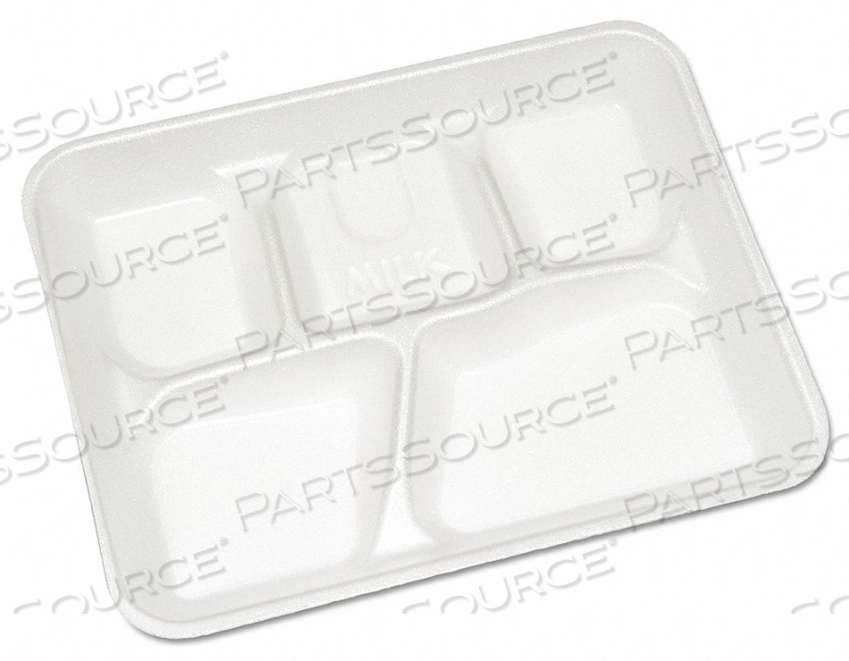 CAFETERIA TRAY WHITE 5 COMP PK500 by Pactiv