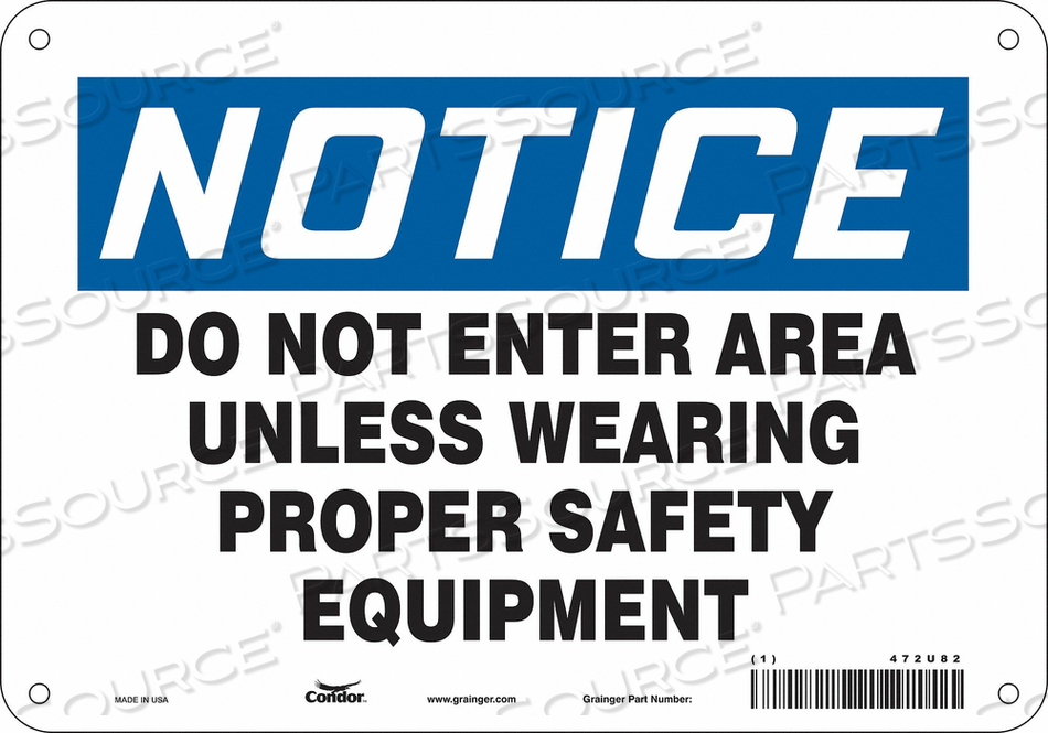 SIGN PROPER SAFETY EQUIPMENT 7 X10 by Condor