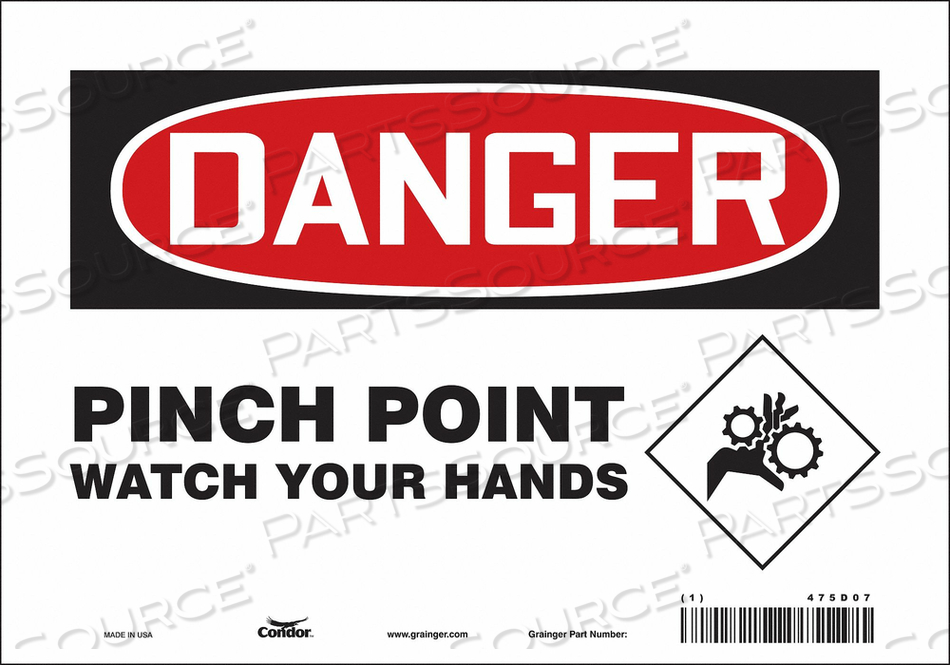 J6942 SAFETY SIGN 10 W 7 H 0.004 THICKNESS by Condor
