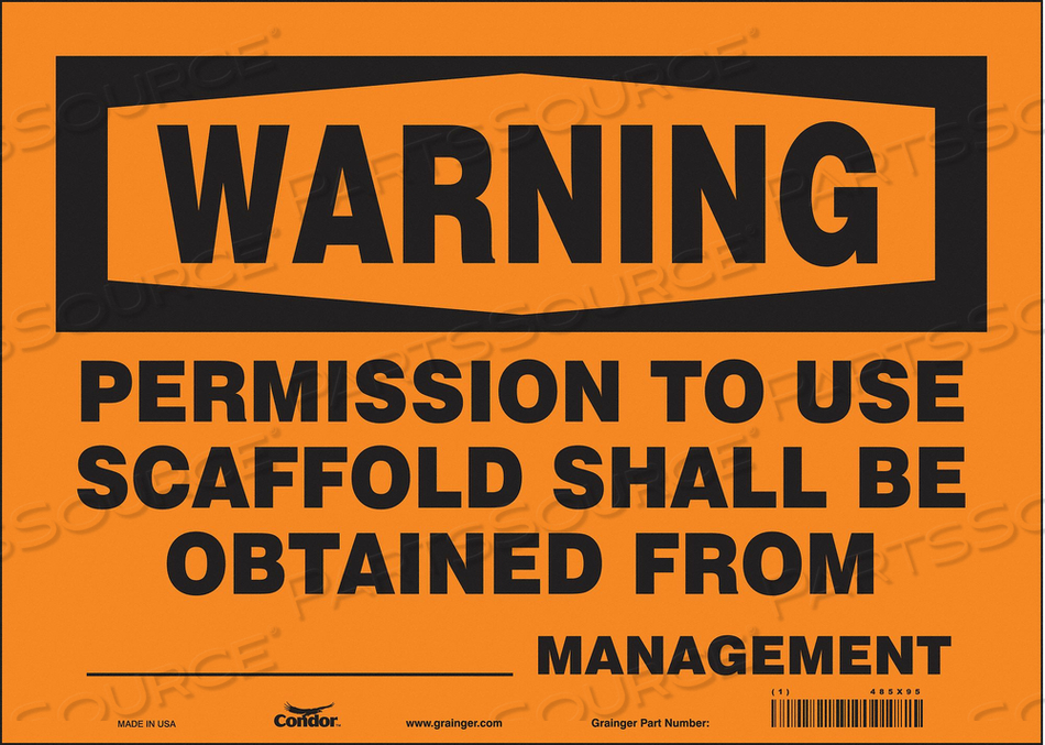 CONSTRUCTION SIGN 14 W 10 H 0.004 THICK by Condor