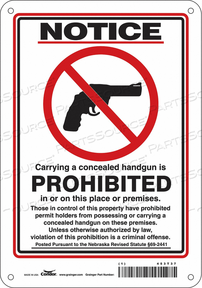 NO CONCEALED WEAPONS SIGN 7 W 10 H by Condor