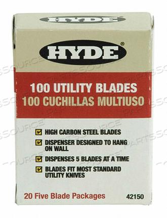 HD UTILITY KNIFE BLADES PK100 by Hyde