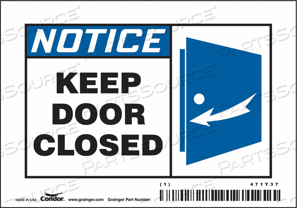 SAFETY SIGN 5 W X 3-1/2 H 0.004 THICK by Condor