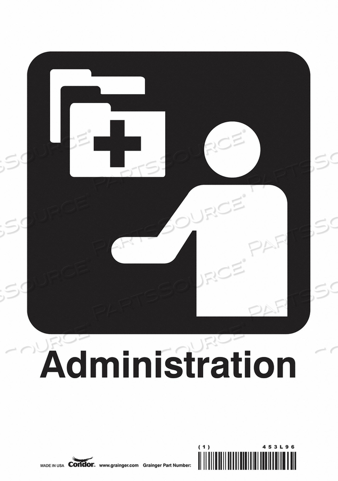 HOSPITAL SIGN 10 H X 7 W 0.004 THICK by Condor