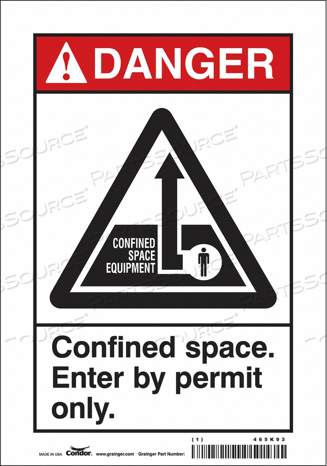 SAFETY SIGN 10 H 7 W VINYL by Condor