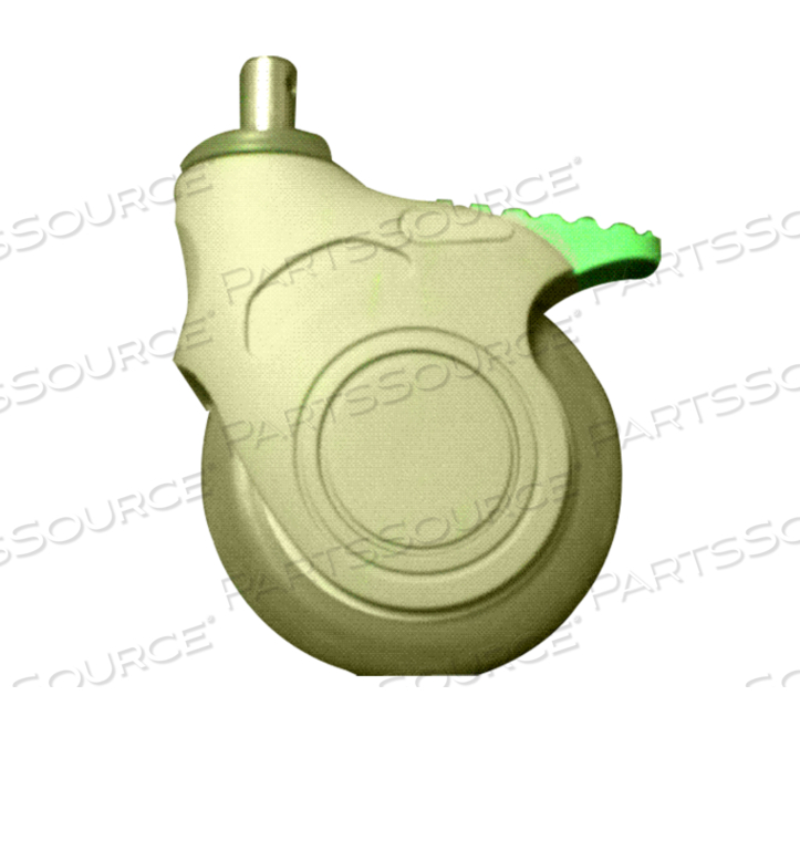 CASTER, DIRECTIONAL LOCKING GREEN PEDAL