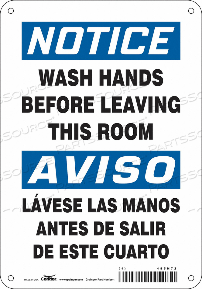 SAFETY SIGN 7 WX10 H 0.060 THICK by Condor