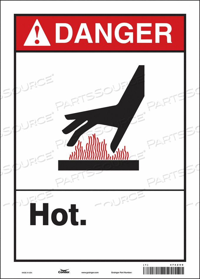 DANGER SIGN 10 W X 14 H 0.004 THICK by Condor