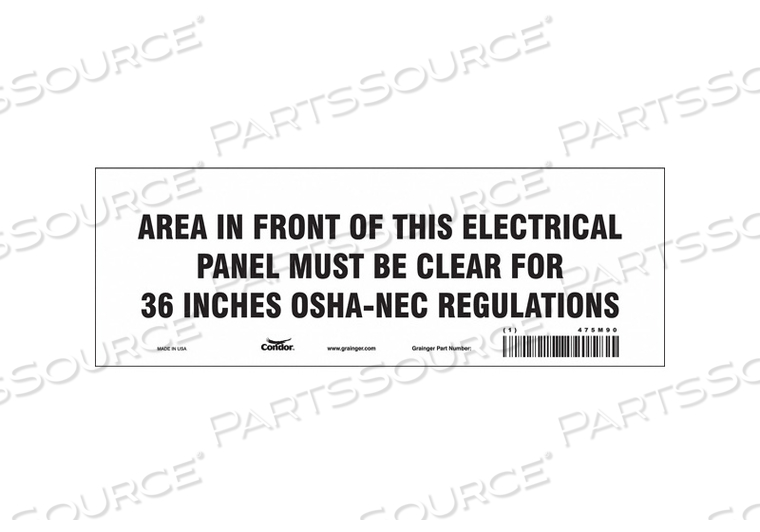 SAFETY SIGN 10 W 3-1/2 H 0.004 THICK by Condor