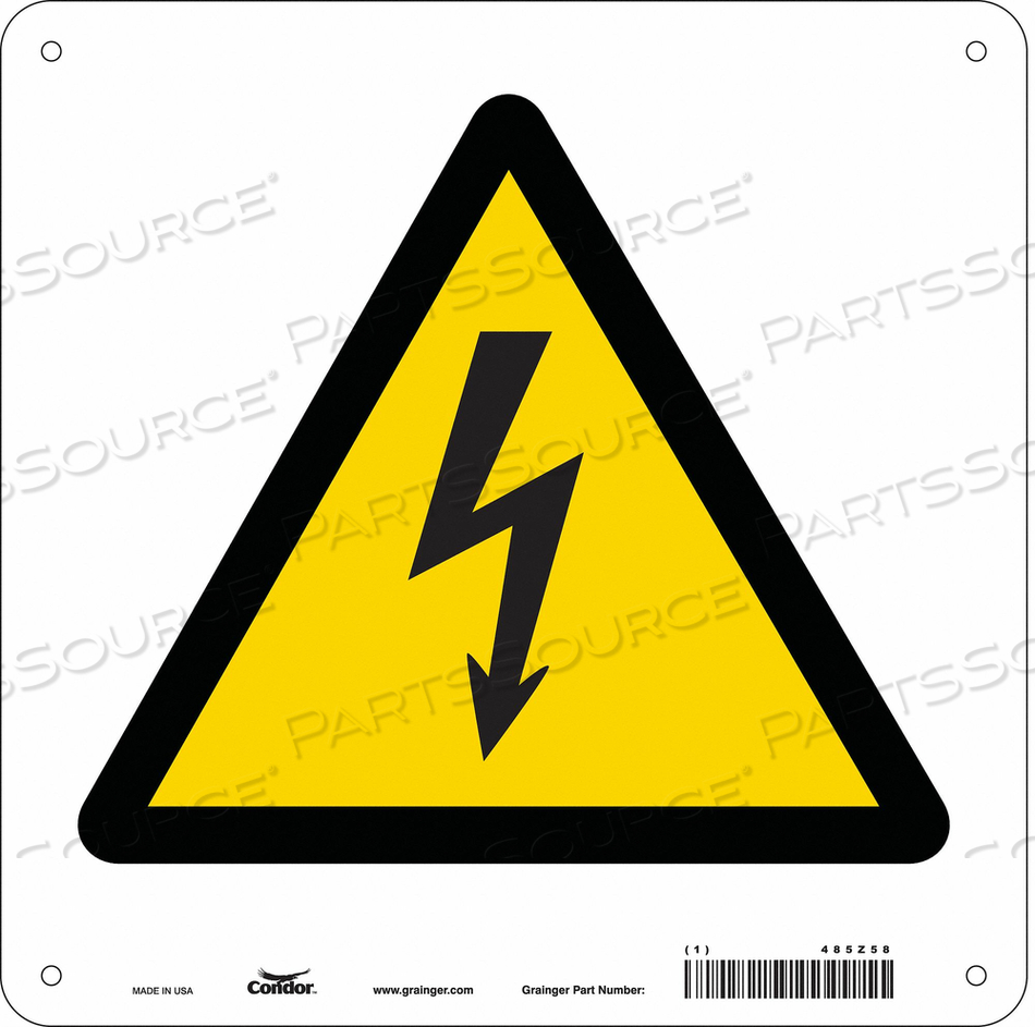 ELECTRICAL SIGN 10 W 10 H 0.032 THICK by Condor