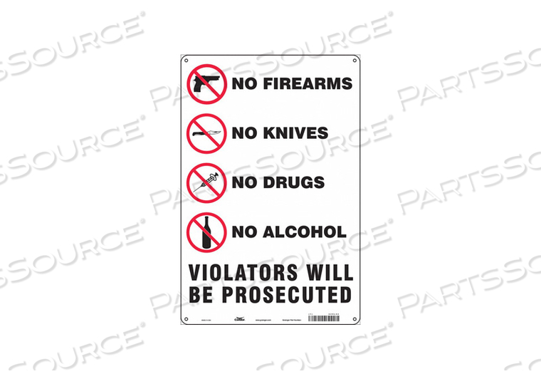 SAFETY SIGN 18 H X 12 W 0.055 THICK by Condor