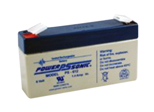 BATTERY, SEALED LEAD ACID, 6V, 1.2 AH, FASTON (F1) by Power Sonic