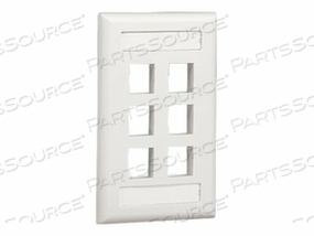 PANDUIT NETKEY FLUSH MOUNT SCREW-ON FACEPLATES WITH LABELING - FACEPLATE - WHITE - 1-GANG - 6 PORTS by Panduit
