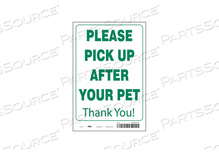 SAFETY SIGN 12 WX18 H 0.004 THICK by Condor