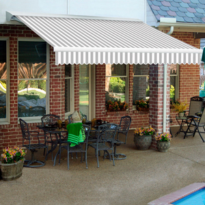 """RETRACTABLE AWNING MANUAL 18'W X 10'D X 10""""H GRAY/WHITE by Awntech"""