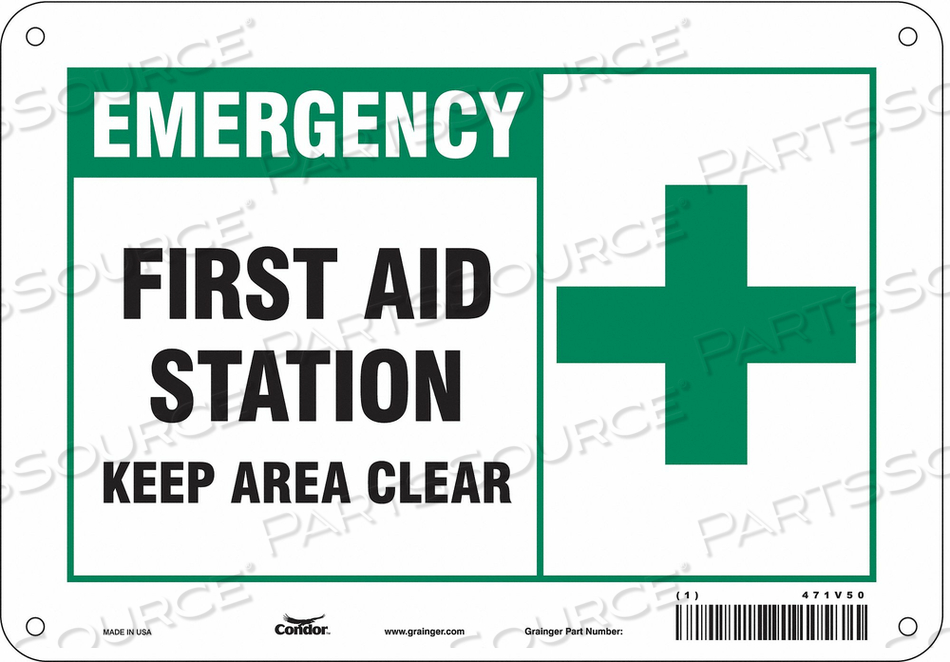 FIRST AID SIGN 10 W X 7 H 0.060 THICK by Condor