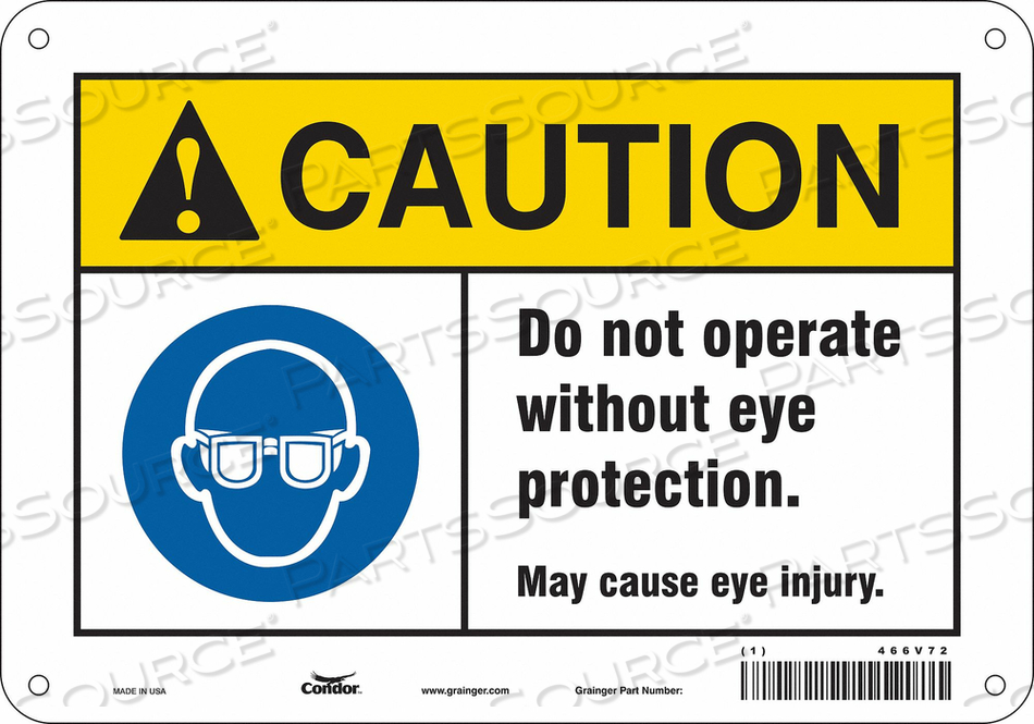 SAFETY SIGN 10 W 7 H 0.055 THICKNESS by Condor