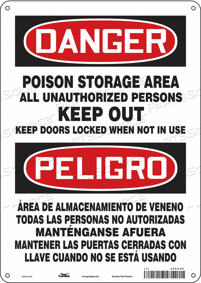 CHEMICAL SIGN 10 W 14 H 0.032 THICKNESS by Condor