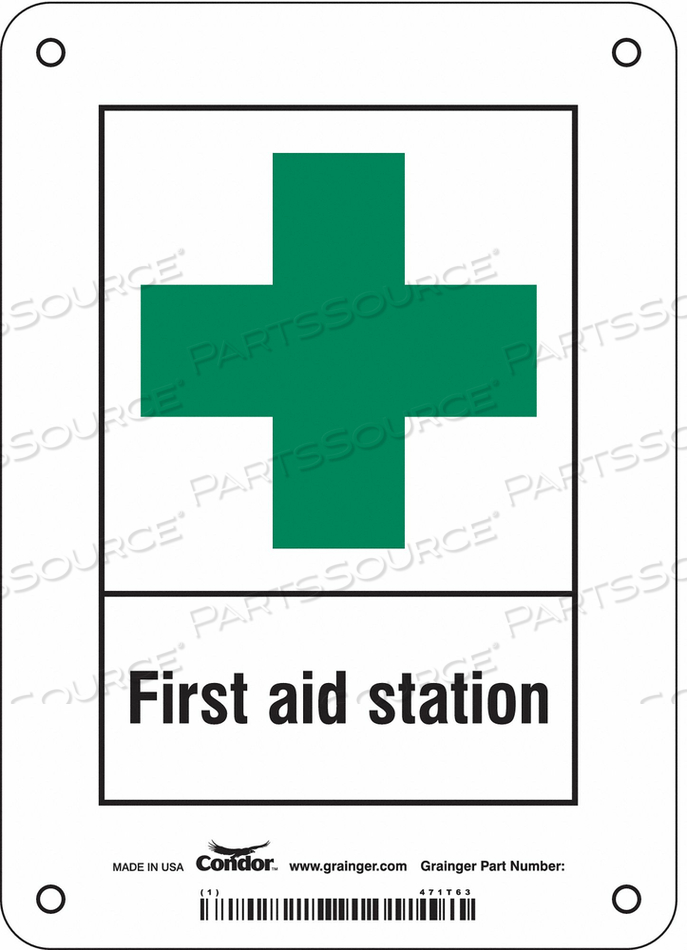 FIRST AID SIGN 5 W X 7 H 0.055 THICK by Condor