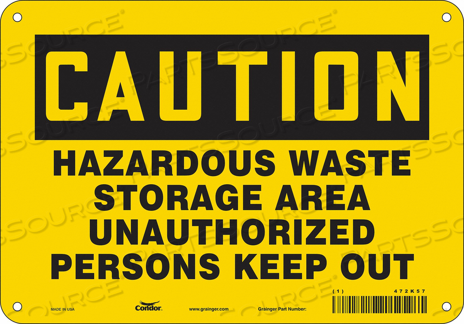 K1887 SAFETY SIGN 10 W 7 H 0.032 THICKNESS by Condor