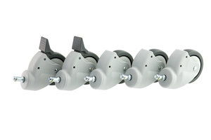3 IN ROLL STAND CASTER SET, EURO GRAY, INCLUDES: 2 LOCKING/3 NON-LOCKING CASTERS by GCX Corporation