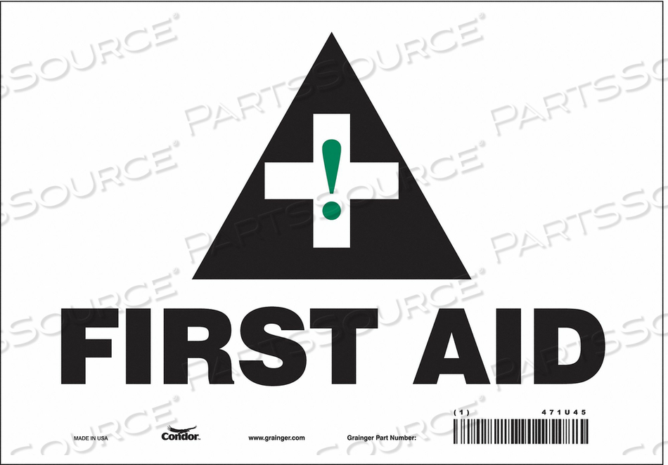 FIRST AID SIGN 10 W X 7 H 0.004 THICK by Condor