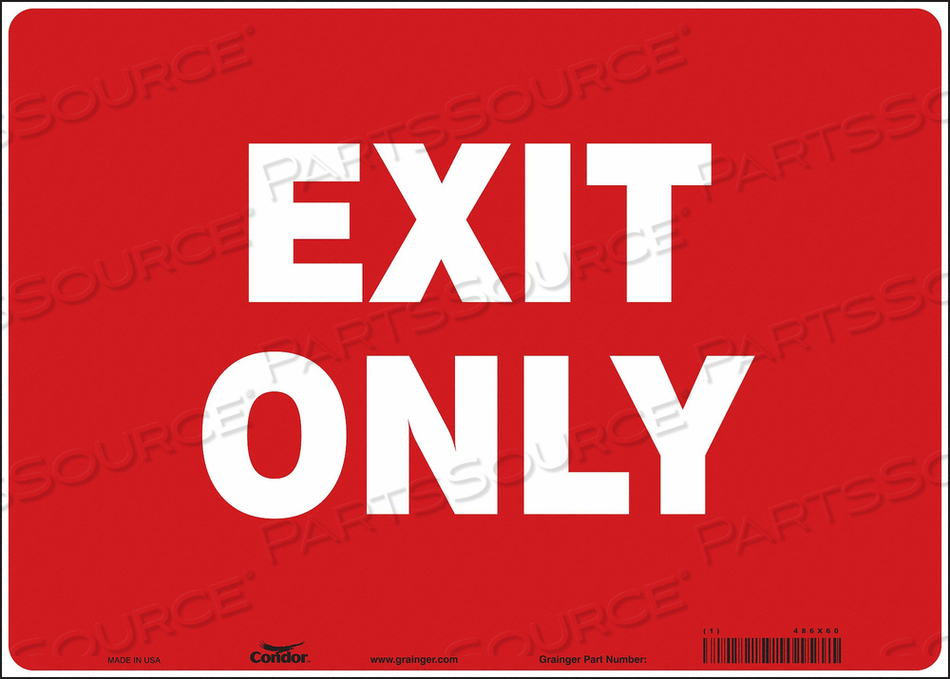 SAFETY SIGN EXIT ONLY 10 X14 by Condor