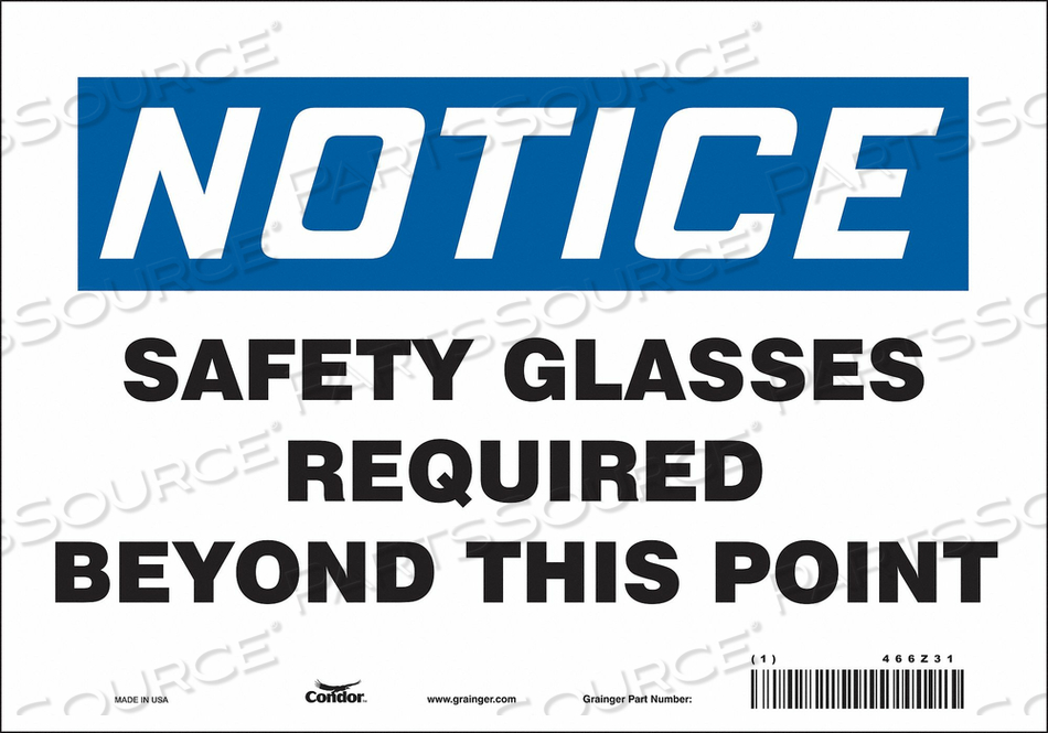 J7003 SAFETY SIGN 10 W 7 H 0.004 THICKNESS by Condor