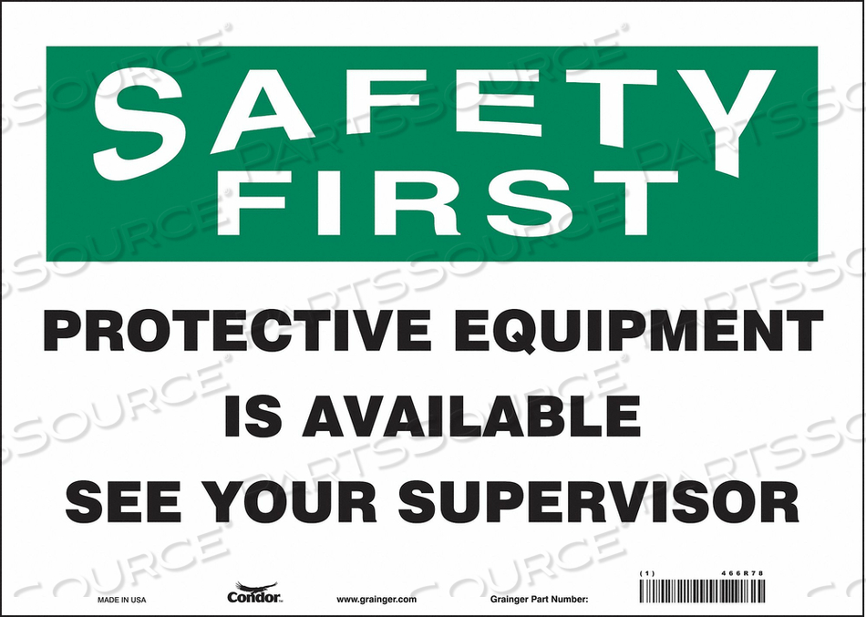 SAFETY SIGN 10 H 10 W VINYL by Condor