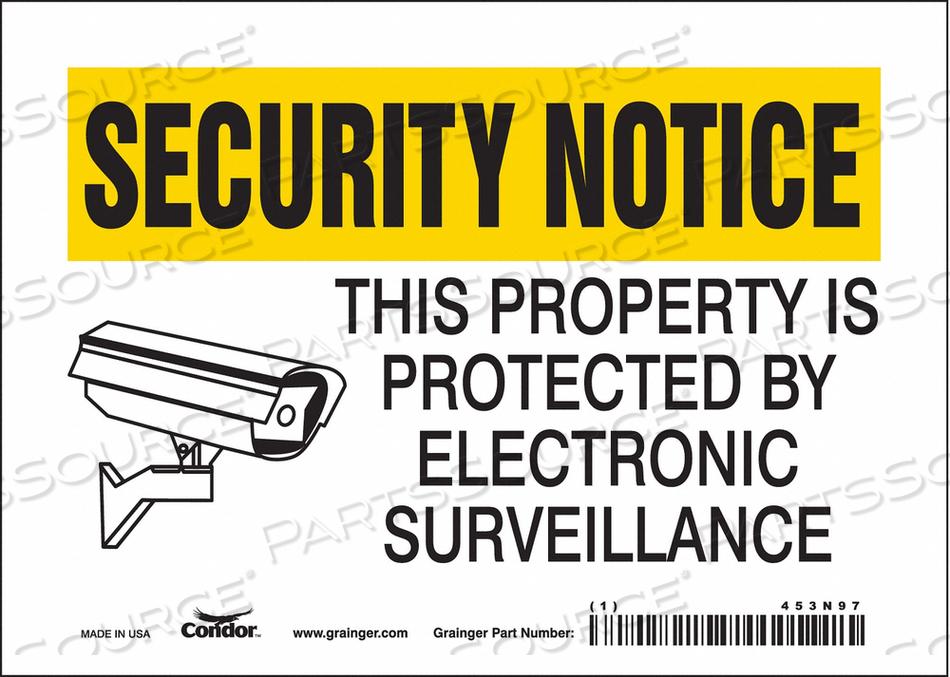 J7030 SECURITY SIGN 5 H 7 W VINYL by Condor
