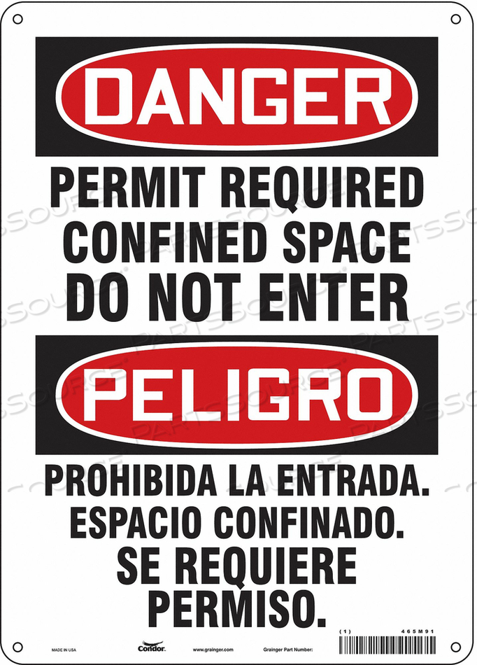 SAFETY SIGN 14 H 10 W ALUMINUM by Condor
