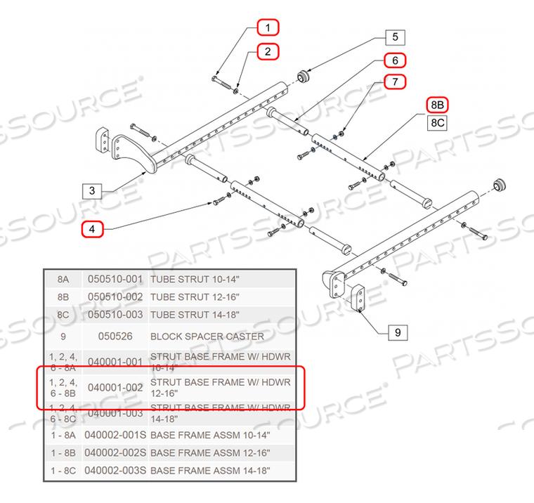 STRUT BASE FRAME W/HDWR 12-16