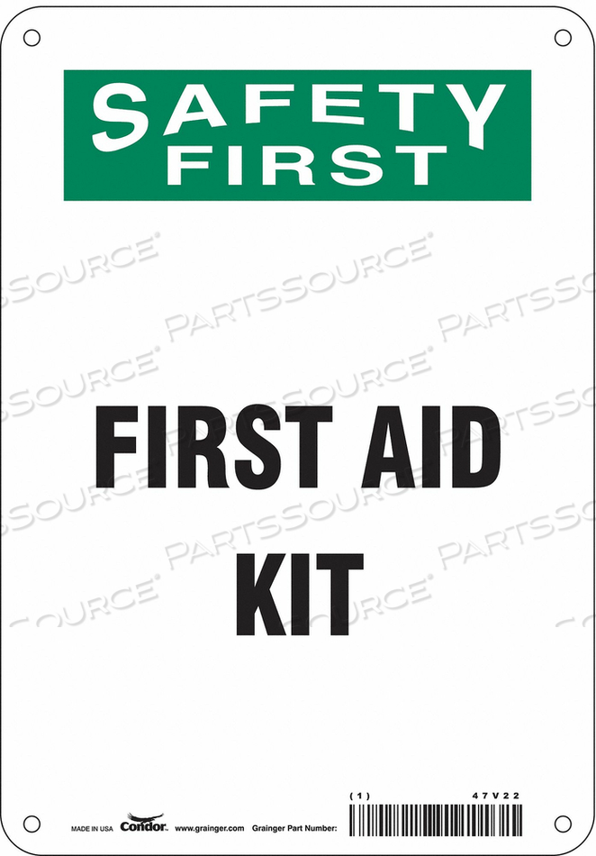 FIRST AID SIGN 7 W X 10 H 0.055 THICK by Condor