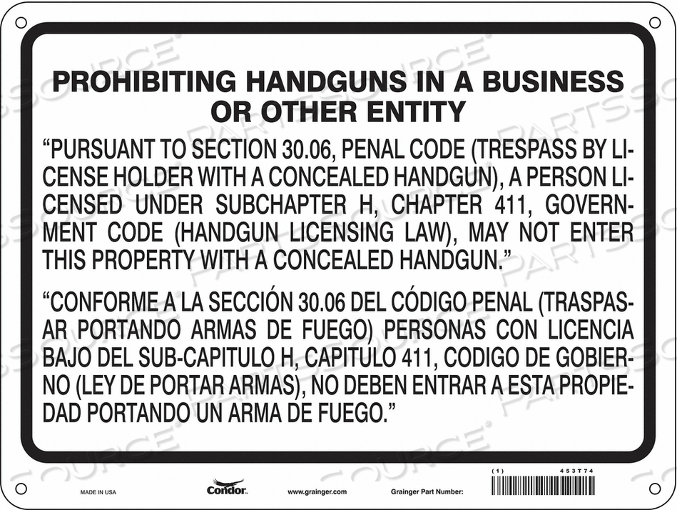 NO CONCEALED WEAPONS SIGN 24 W 18 H by Condor