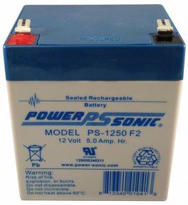 BATTERY, SEALED LEAD ACID, 12V, 5 AH, FASTON (F2) by Power Sonic