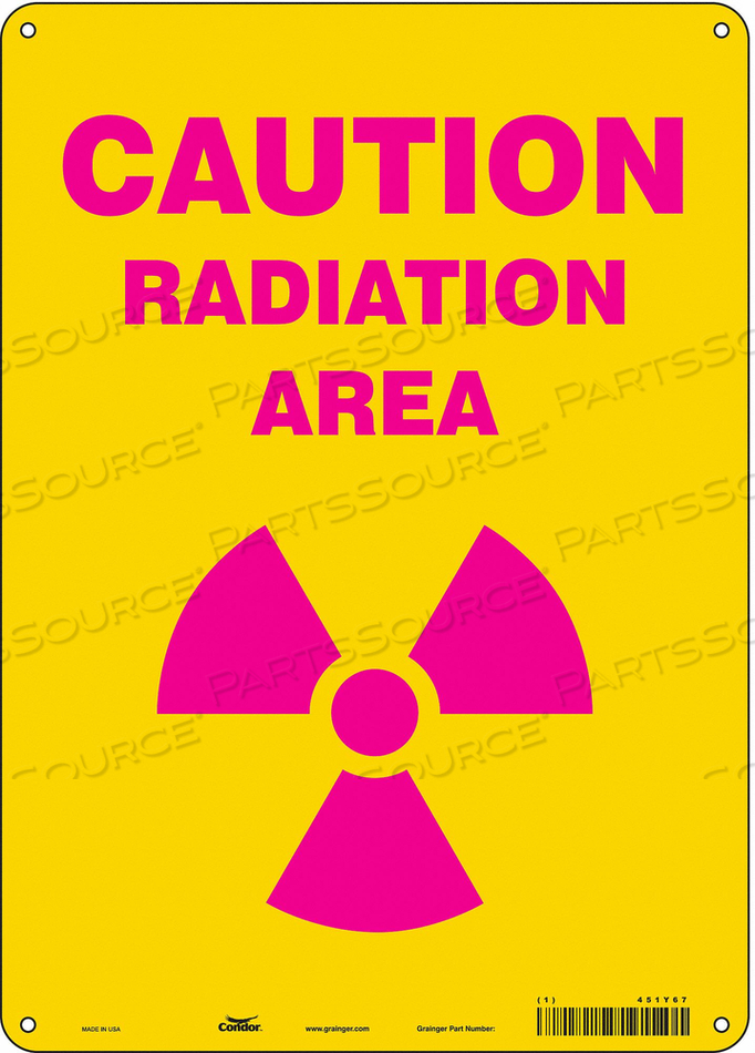 J7007 RADIATION SAFETY SIGN ALUMINUM 14 H by Condor