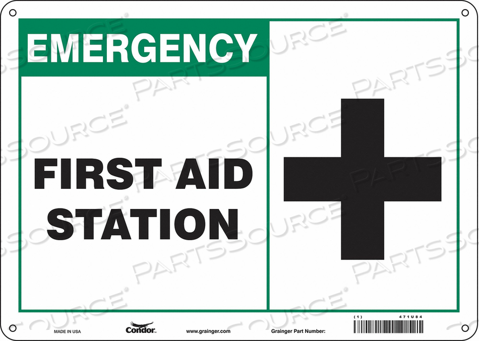 FIRST AID SIGN 14 WX10 H 0.032 THICK by Condor