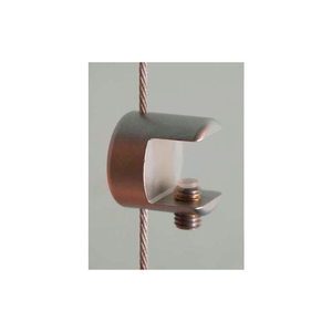"""CLAMP SUPPORT FOR 1/2"""" GLASS SHELVES & 1.5MM CABLES, SATIN CHROME by Nova Display, Inc"""