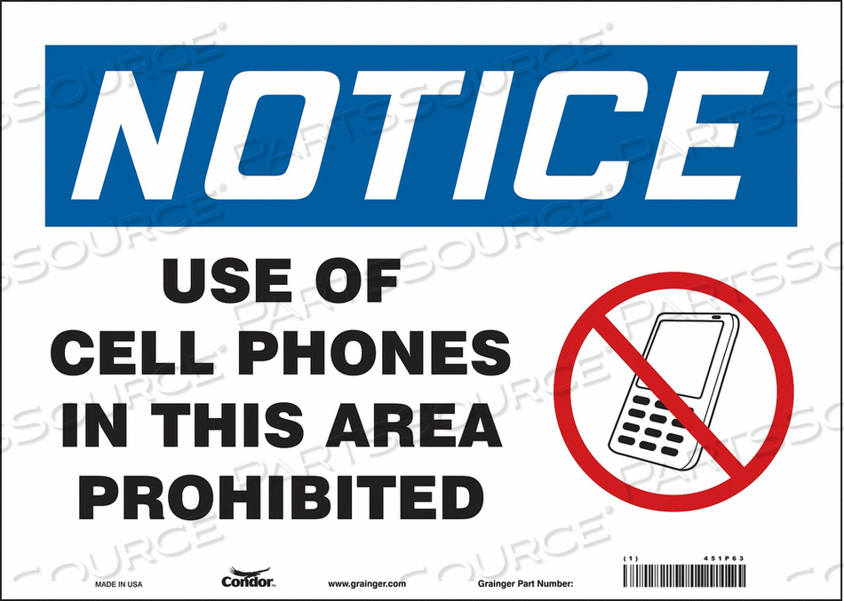 SIGN CELL PHONE 14 W 10 H 0.004 THICK by Condor