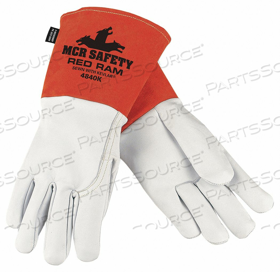 WELDING LEATHER GLOVE BROWN/WHITE M PK12 by MCR Safety