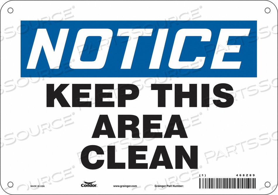 SAFETY SIGN 10 7 0.032 THICKNESS by Condor