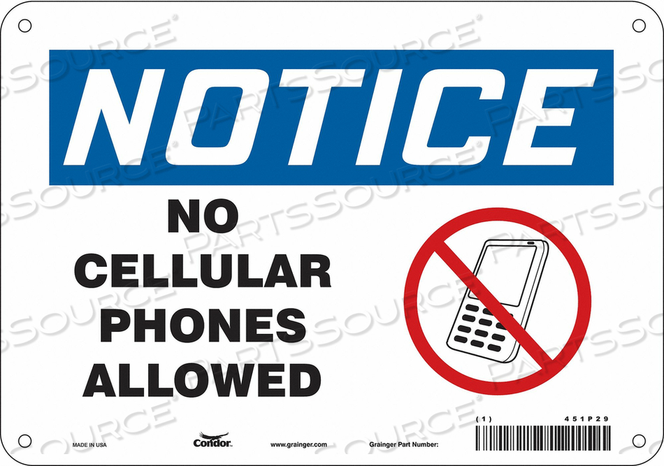 SIGN CELL PHONE 10 W 7 H 0.055 THICK by Condor