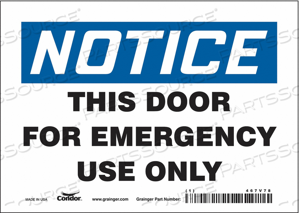 SAFETY SIGN 5 X7 VINYL by Condor