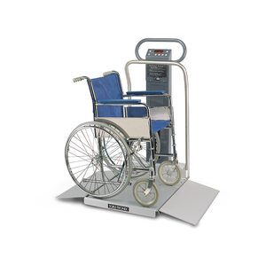 WHEELCHAIR SCALE, 880 LB/400 KG, WITH STANDARD WEIGHT (LB/KG), DATA PORT, AND BATTERY POWER by Scale-Tronix