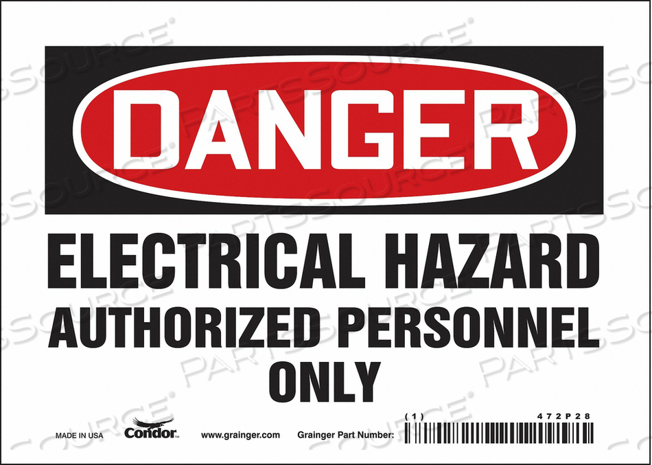 J6925 SAFETY SIGN 7 W 5 H 0.004 THICKNESS by Condor