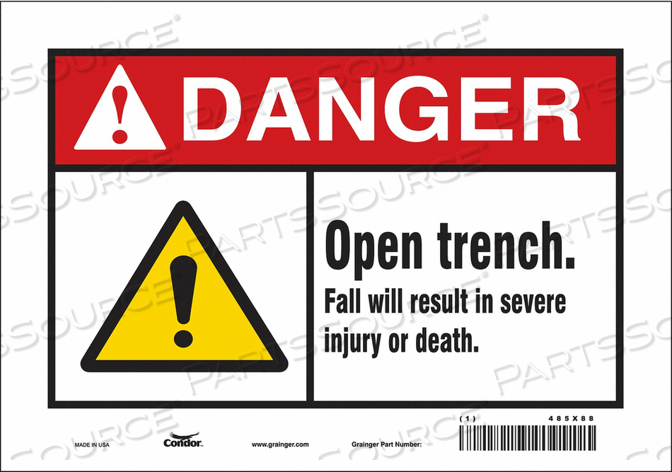 CONSTRUCTION SIGN 10 W 7 H 0.004 THICK by Condor