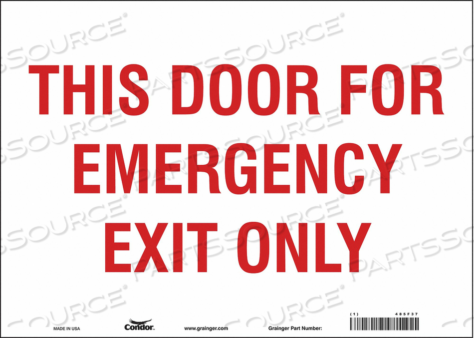 SAFETY SIGN EMERGENCY EXIT ONLY 10 X14 by Condor