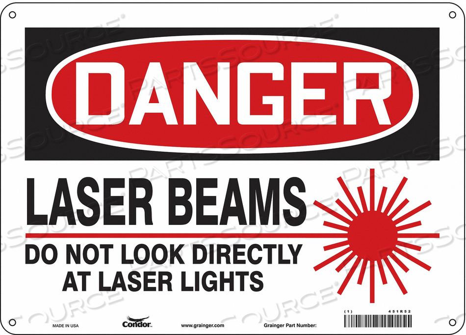 LASER WARNING 14 W 10 H 0.055 THICK by Condor