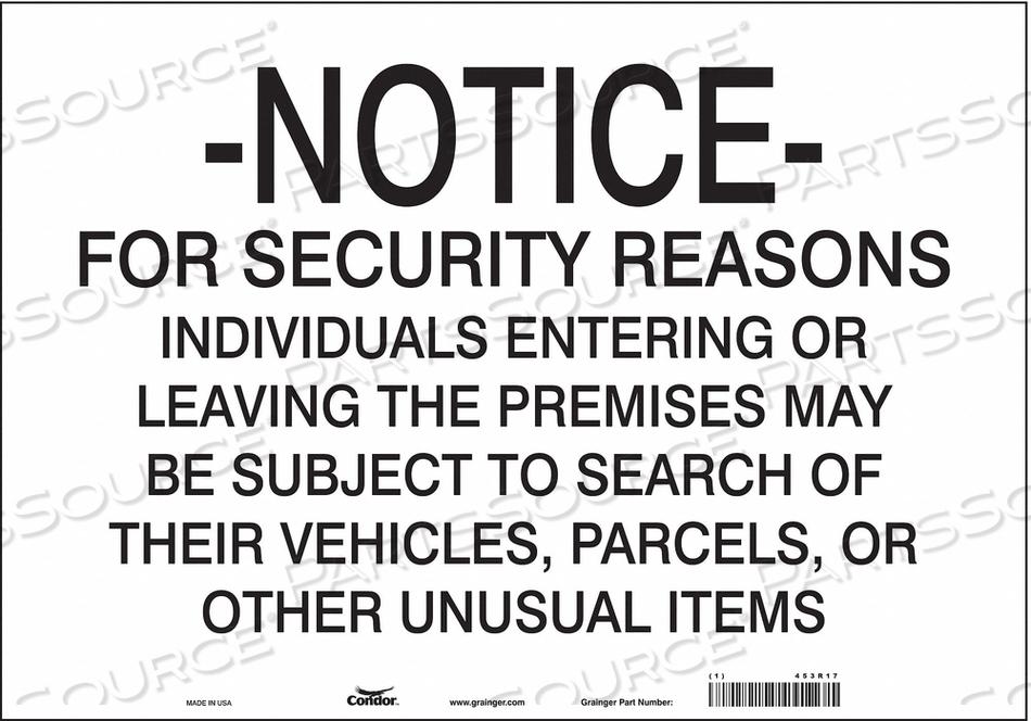 SECURITY SIGN 14 H 20 W VINYL by Condor